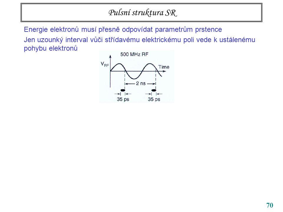 70 Pulsní struktura SR Energie elektronů musí přesně odpovídat parametrům prstence Jen uzounký interval vůči střídavému elektrickému poli vede k ustálenému pohybu elektronů