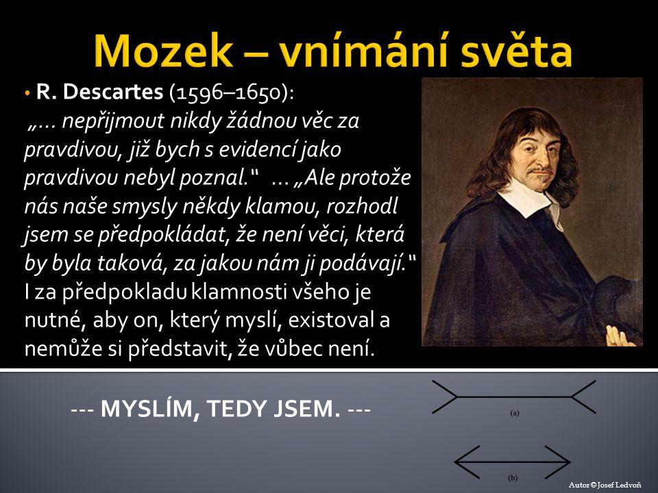 """R. Descartes (1596–1650): """"… nepřijmout nikdy žádnou věc za pravdivou, již bych s evidencí jako pravdivou nebyl poznal."""" … """"Ale protože nás naše smysl"""