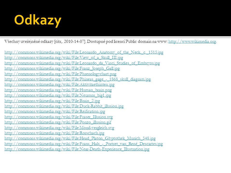 Odkazy Všechny uveřejněné odkazy [citr,. 2010-14-07]. Dostupné pod licencí Public domain na www: http://www.wikimedia.org.http://www.wikimedia.org htt