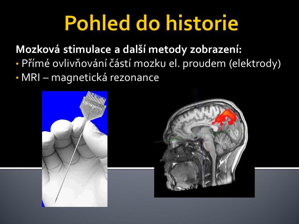 Mozková stimulace a další metody zobrazení: Přímé ovlivňování částí mozku el. proudem (elektrody) MRI – magnetická rezonance