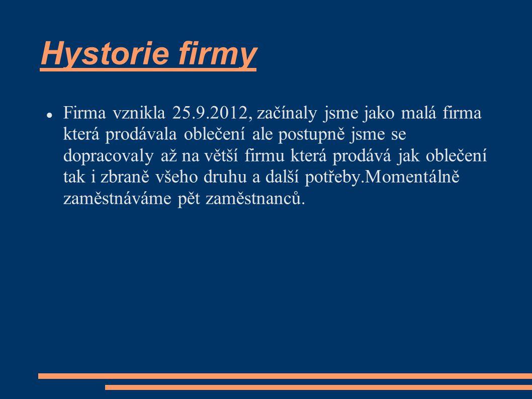 Hystorie firmy Firma vznikla 25.9.2012, začínaly jsme jako malá firma která prodávala oblečení ale postupně jsme se dopracovaly až na větší firmu kter