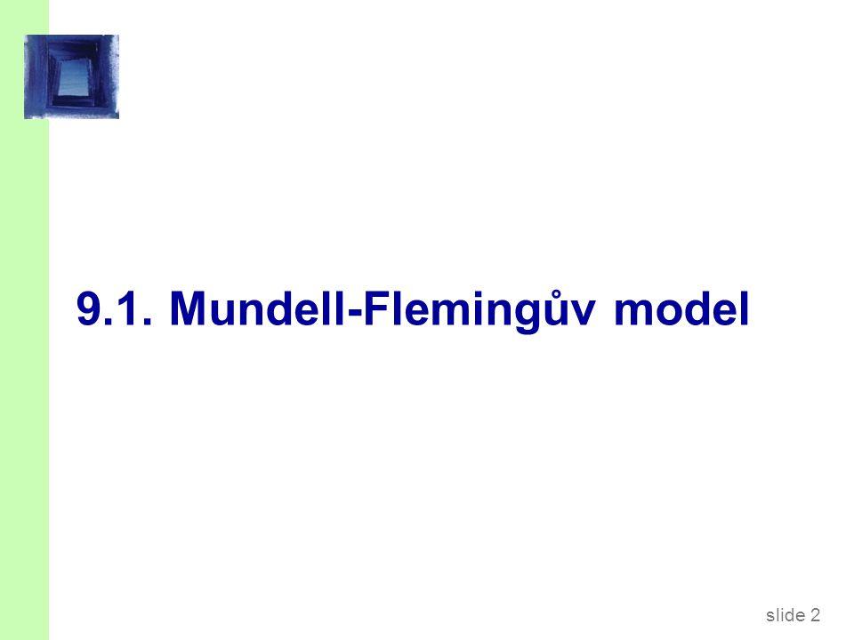 slide 3 Mundell-Flemingův model  Klíčový předpoklad: Malá otevřená ekonomika s dokonalou kapitálovou mobilitou.