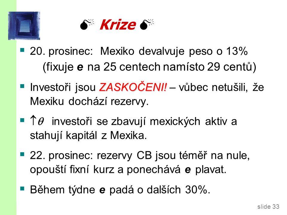 slide 33  Krize   20. prosinec: Mexiko devalvuje peso o 13% (fixuje e na 25 centech namísto 29 centů) ZASKOČENI!  Investoři jsou ZASKOČENI! – vůbe