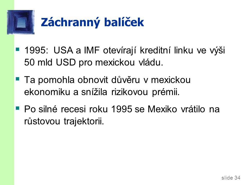 slide 34 Záchranný balíček  1995: USA a IMF otevírají kreditní linku ve výši 50 mld USD pro mexickou vládu.  Ta pomohla obnovit důvěru v mexickou ek