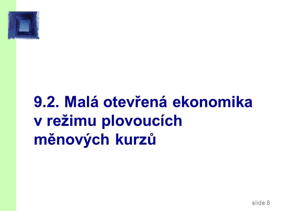 slide 19 Monetární politika v režimu fixních kurzů Zvýšení M by posunulo LM* doprava a snížilo e.