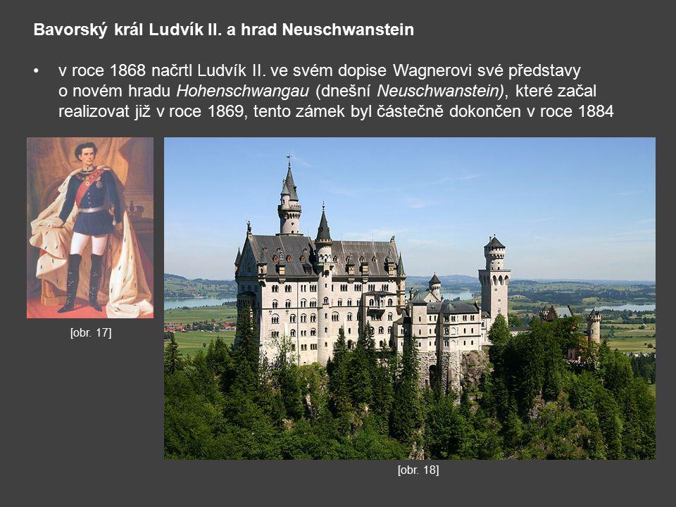 Bavorský král Ludvík II.a hrad Neuschwanstein v roce 1868 načrtl Ludvík II.