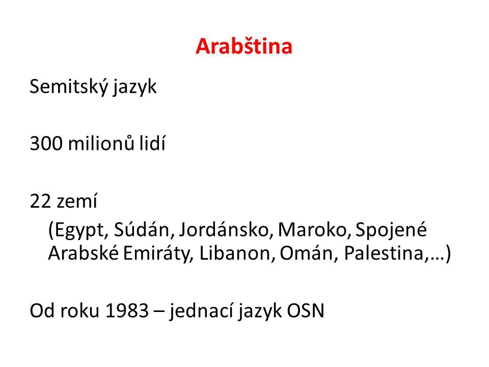 Arabština Semitský jazyk 300 milionů lidí 22 zemí (Egypt, Súdán, Jordánsko, Maroko, Spojené Arabské Emiráty, Libanon, Omán, Palestina,…) Od roku 1983 – jednací jazyk OSN