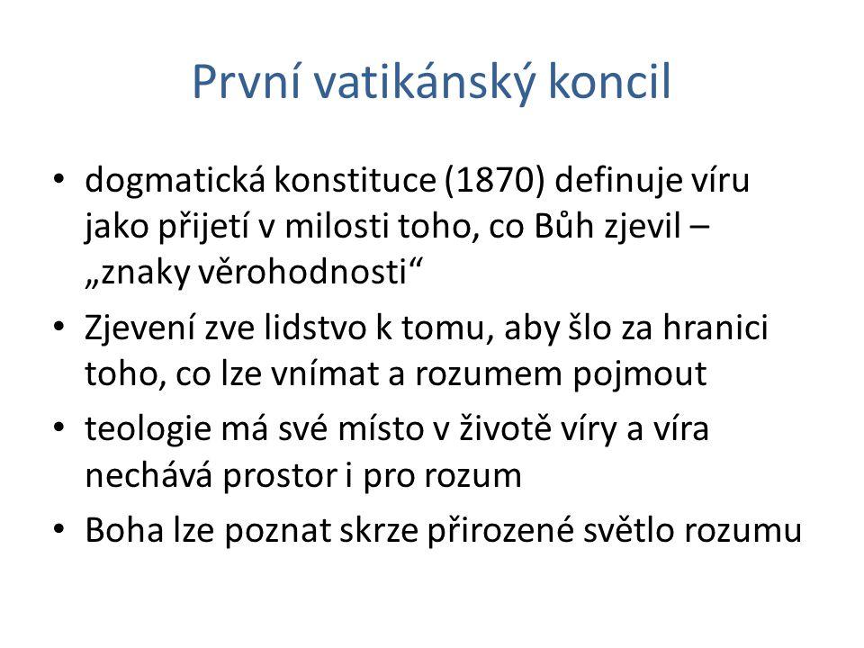 """První vatikánský koncil dogmatická konstituce (1870) definuje víru jako přijetí v milosti toho, co Bůh zjevil – """"znaky věrohodnosti"""" Zjevení zve lidst"""