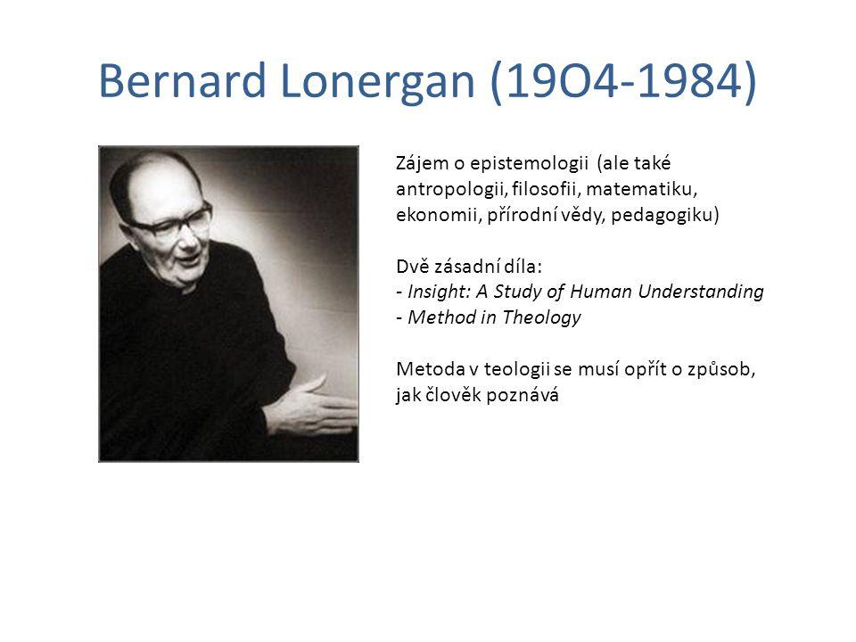 Bernard Lonergan (19O4-1984) Zájem o epistemologii (ale také antropologii, filosofii, matematiku, ekonomii, přírodní vědy, pedagogiku) Dvě zásadní díl