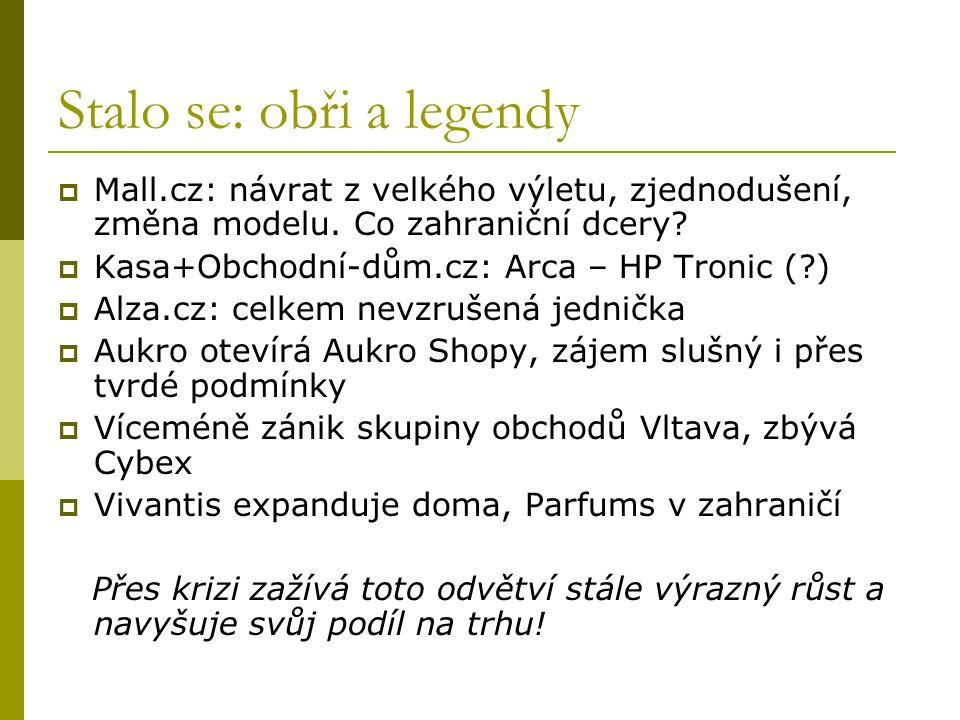 Stalo se: obři a legendy  Mall.cz: návrat z velkého výletu, zjednodušení, změna modelu. Co zahraniční dcery?  Kasa+Obchodní-dům.cz: Arca – HP Tronic