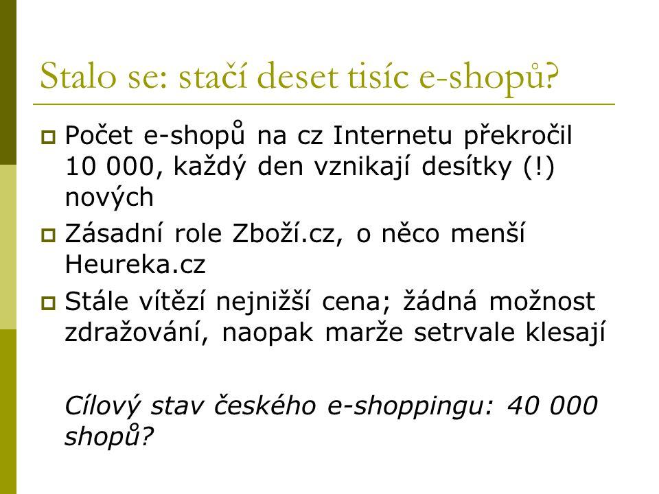 Stalo se: stačí deset tisíc e-shopů?  Počet e-shopů na cz Internetu překročil 10 000, každý den vznikají desítky (!) nových  Zásadní role Zboží.cz,