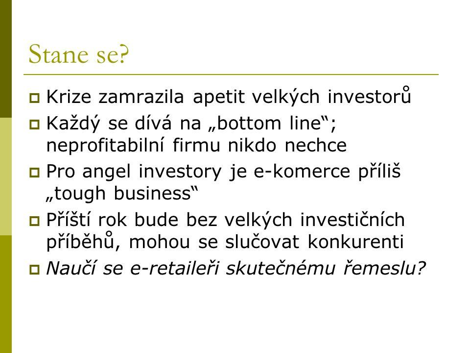 """Stane se?  Krize zamrazila apetit velkých investorů  Každý se dívá na """"bottom line""""; neprofitabilní firmu nikdo nechce  Pro angel investory je e-ko"""