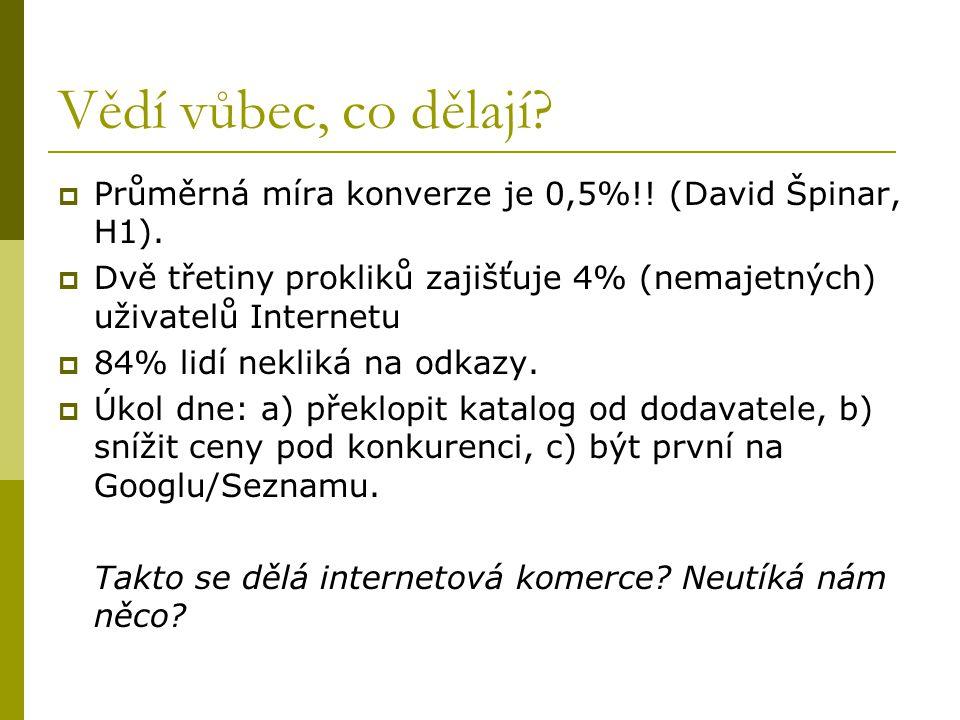 Vědí vůbec, co dělají?  Průměrná míra konverze je 0,5%!! (David Špinar, H1).  Dvě třetiny prokliků zajišťuje 4% (nemajetných) uživatelů Internetu 