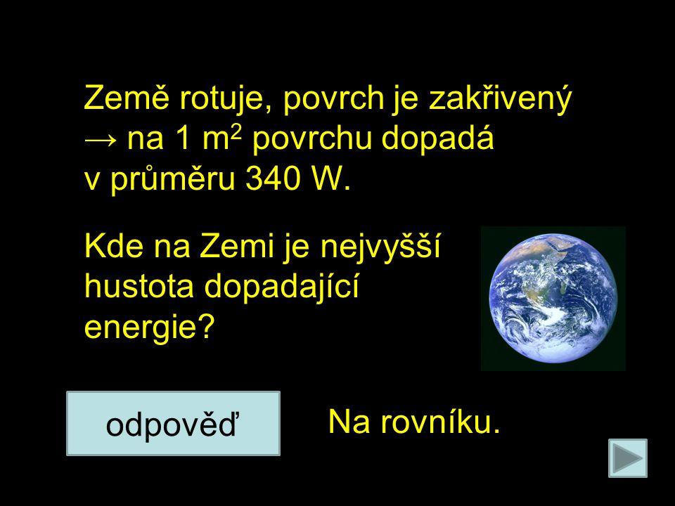 Na poleno působí 2 síly: Země rotuje, povrch je zakřivený → na 1 m 2 povrchu dopadá v průměru 340 W.