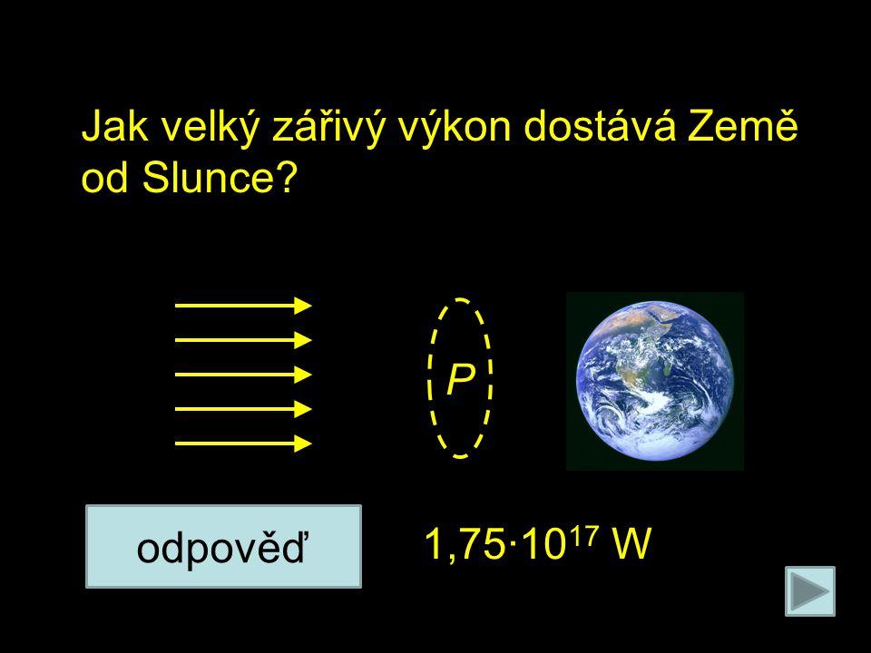 Na poleno působí 2 síly: Jak velký zářivý výkon dostává Země od Slunce 1,75∙10 17 W odpověď P