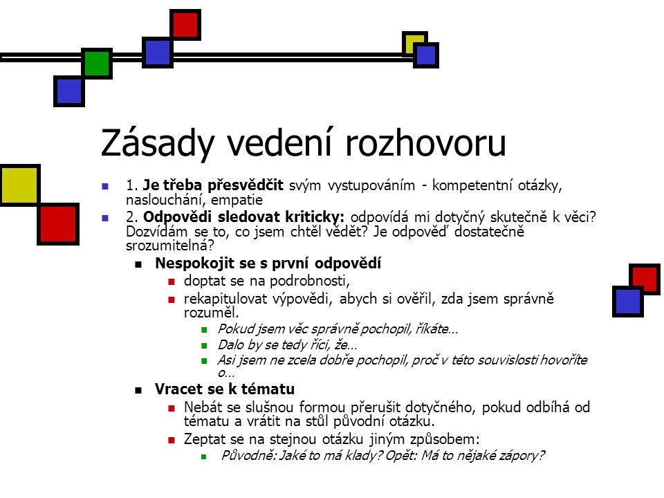 Zásady vedení rozhovoru 3.Rozvíjet nové informace a pohledy.