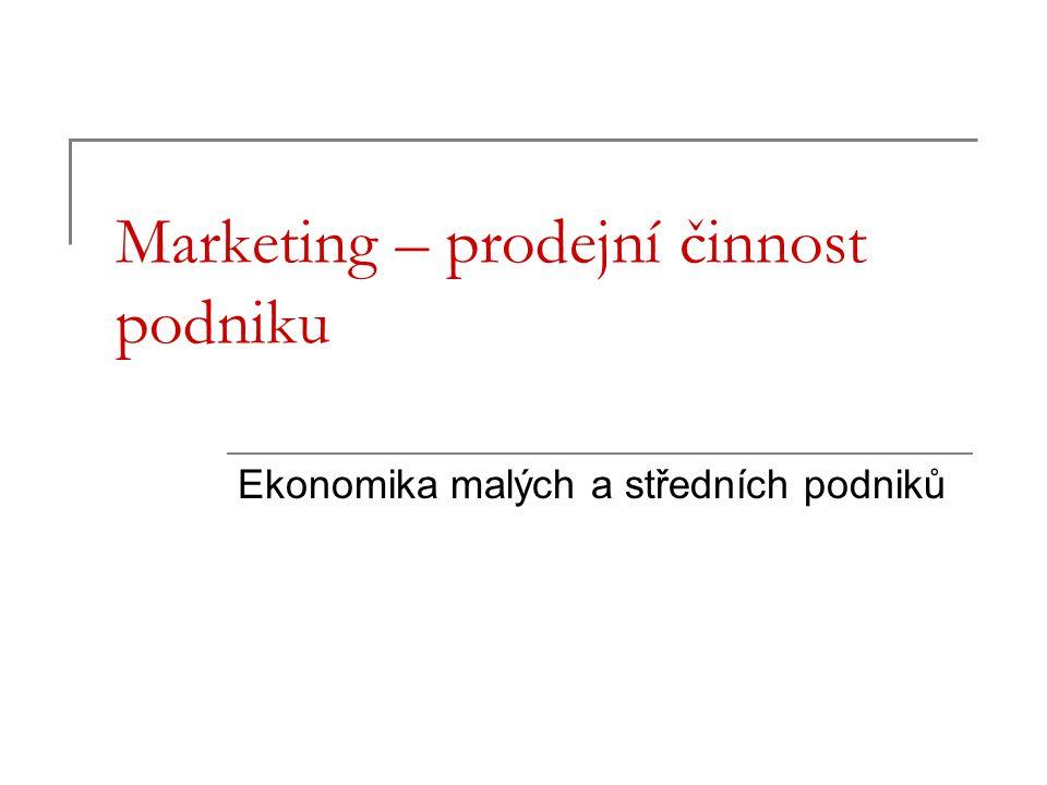 Marketing – prodejní činnost podniku Ekonomika malých a středních podniků