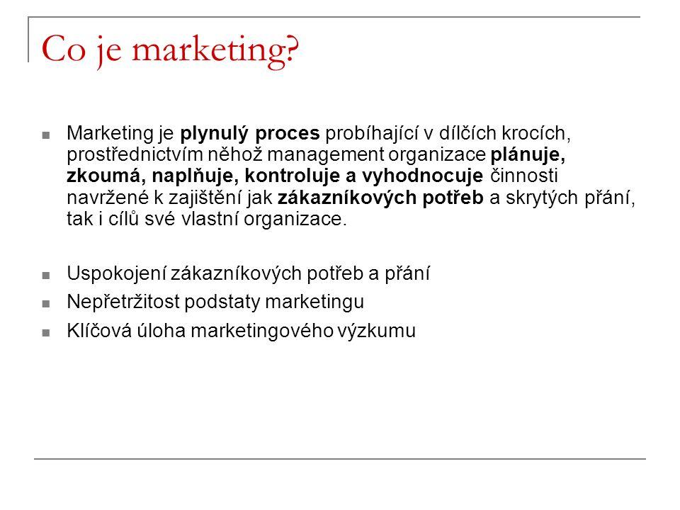 Co je marketing? Marketing je plynulý proces probíhající v dílčích krocích, prostřednictvím něhož management organizace plánuje, zkoumá, naplňuje, kon