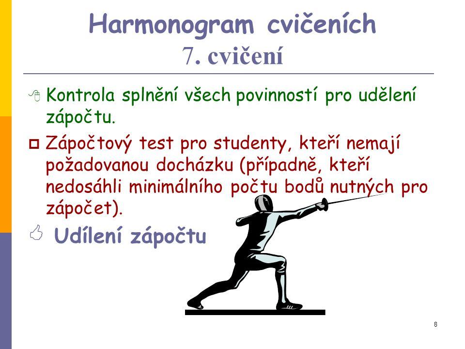 8 Harmonogram cvičeních 7.cvičení  Kontrola splnění všech povinností pro udělení zápočtu.