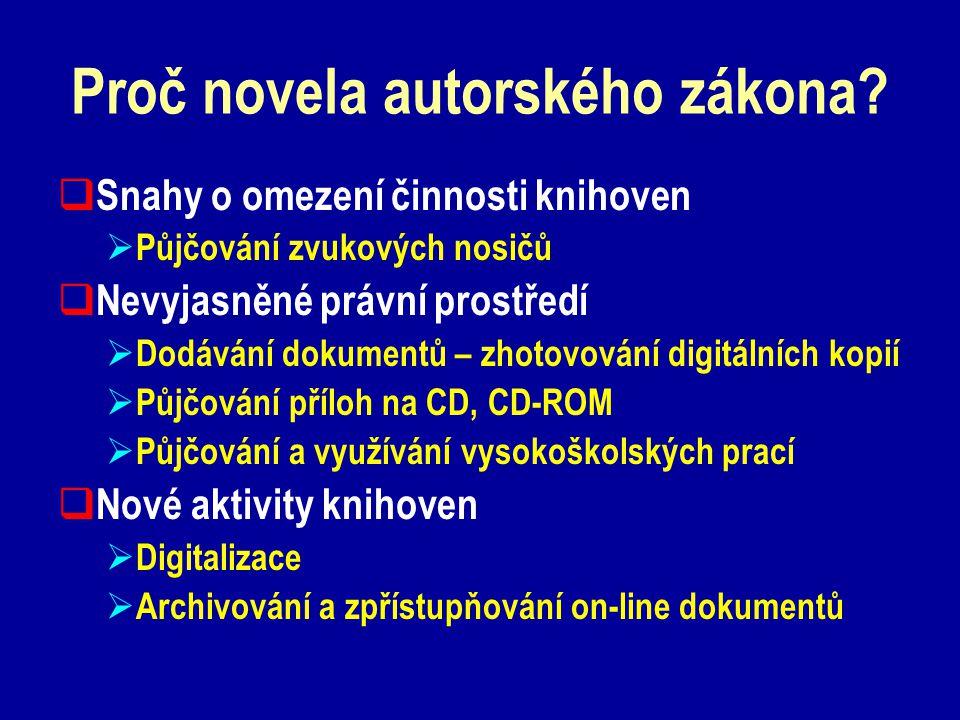 Proč novela autorského zákona.