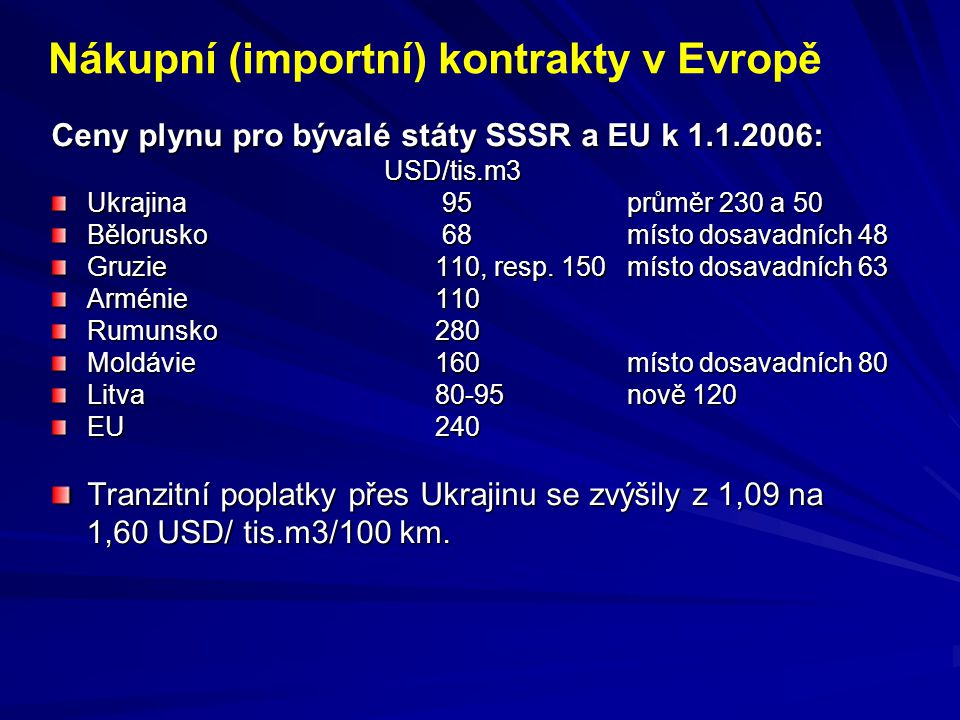 Ceny plynu pro bývalé státy SSSR a EU k 1.1.2006: USD/tis.m3 USD/tis.m3 Ukrajina 95průměr 230 a 50 Bělorusko 68 místo dosavadních 48 Gruzie110, resp.