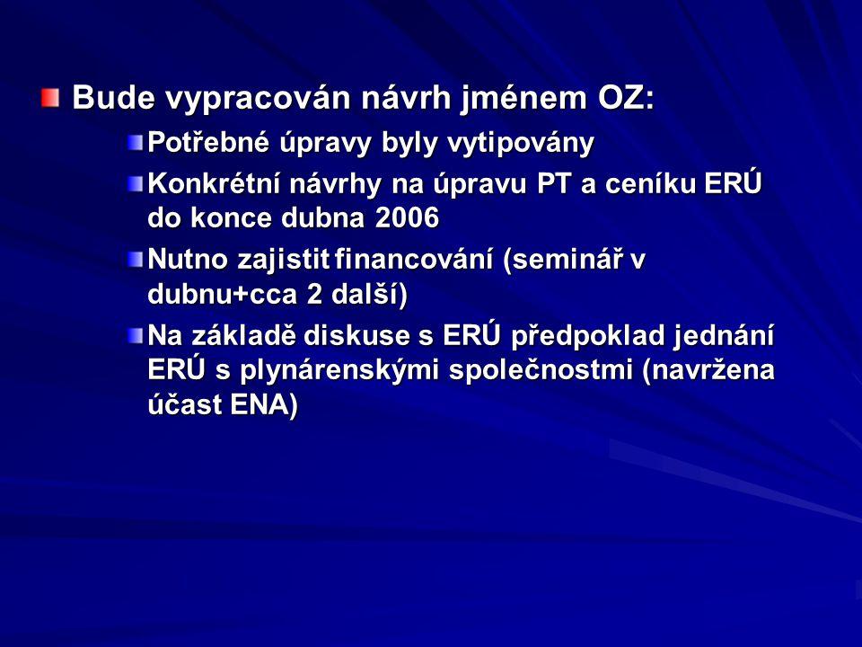 Bude vypracován návrh jménem OZ: Potřebné úpravy byly vytipovány Konkrétní návrhy na úpravu PT a ceníku ERÚ do konce dubna 2006 Nutno zajistit financo
