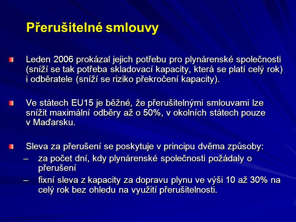 Přerušitelné smlouvy Leden 2006 prokázal jejich potřebu pro plynárenské společnosti (sníží se tak potřeba skladovací kapacity, která se platí celý rok