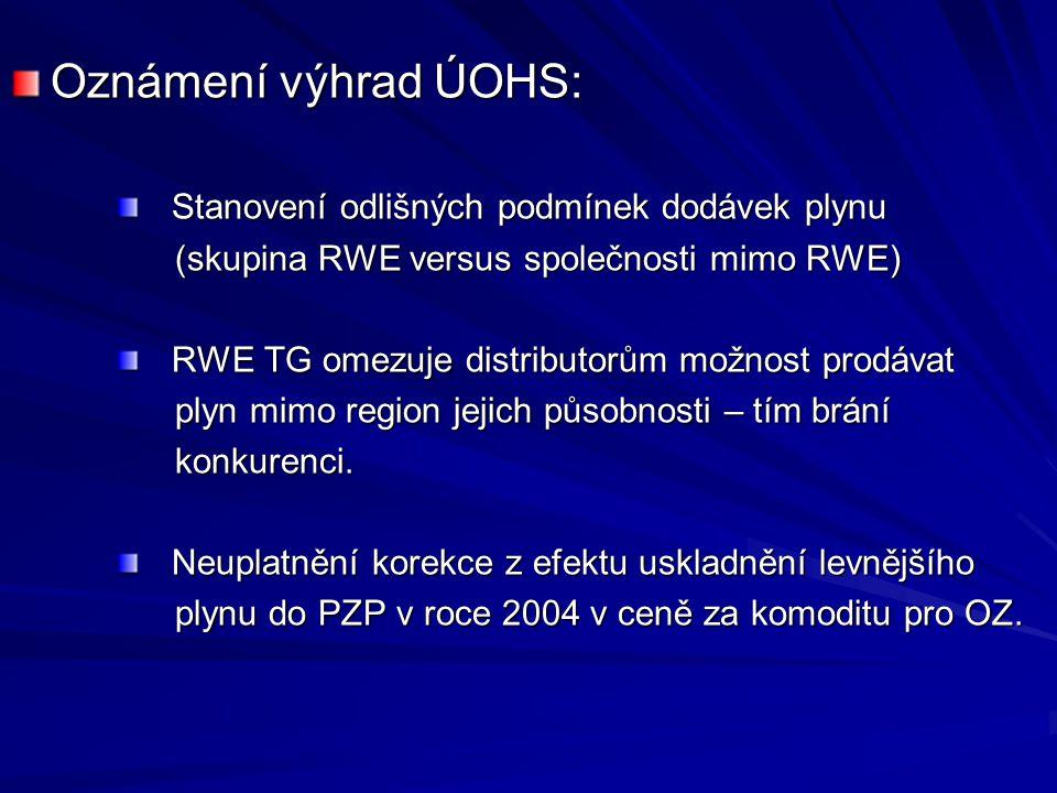 Oznámení výhrad ÚOHS: Stanovení odlišných podmínek dodávek plynu Stanovení odlišných podmínek dodávek plynu (skupina RWE versus společnosti mimo RWE) (skupina RWE versus společnosti mimo RWE) RWE TG omezuje distributorům možnost prodávat RWE TG omezuje distributorům možnost prodávat plyn mimo region jejich působnosti – tím brání plyn mimo region jejich působnosti – tím brání konkurenci.