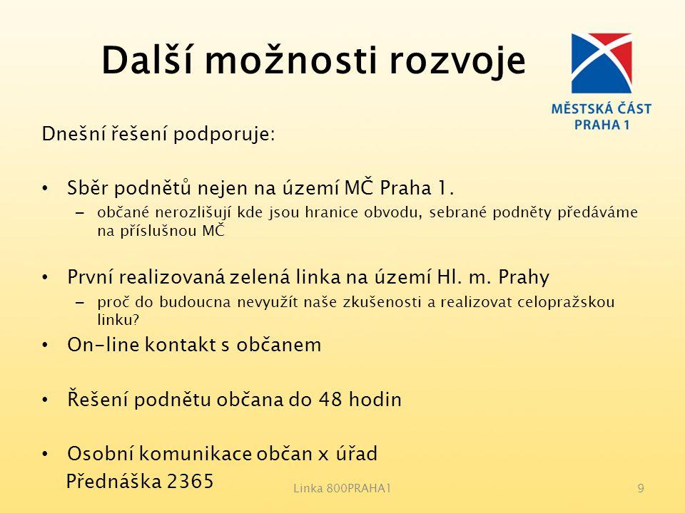 Další možnosti rozvoje Dnešní řešení podporuje: Sběr podnětů nejen na území MČ Praha 1. – občané nerozlišují kde jsou hranice obvodu, sebrané podněty