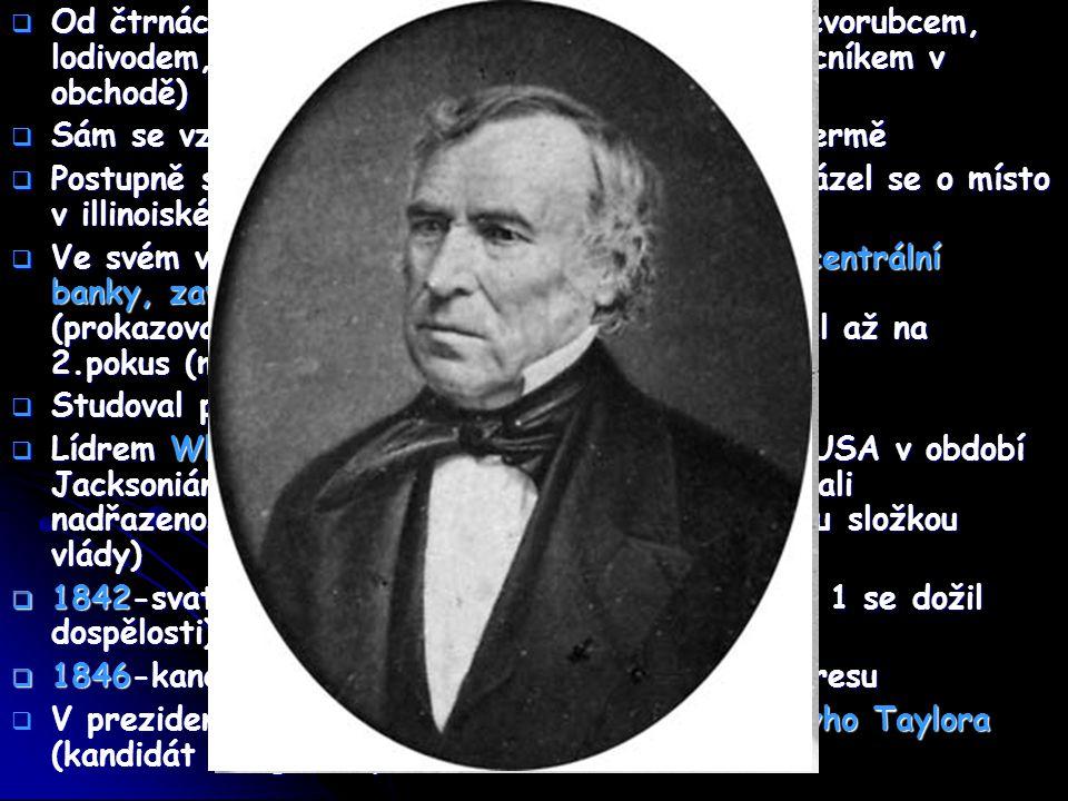 Otázka otrokářství  Po těchto volbách poprvé od Kompromisu 1820 opět otázka otrokářství  Cíl: domluvit se, zda má být otrokářství povoleno či navždy zakázáno  Lincoln hlasoval proti, požadavek o zakázání otroctví a obchodu s otroky v distriktu hlavního města (nebyl ani předložen k hlasování)  V dalších volbách do kongresu nebyl zvolen, soustředil se na činnost advokáta  Mezitím se vztahy mezi Severem a Jihem zostřovaly  Zákon z r.1854-obyvatelé nově přijímaných teritorií se sami rozhodnou zda otroctví chtějí či ne  Zánik Whig Party  Návrat na politickou scénu r.1852, nezískal post senátora