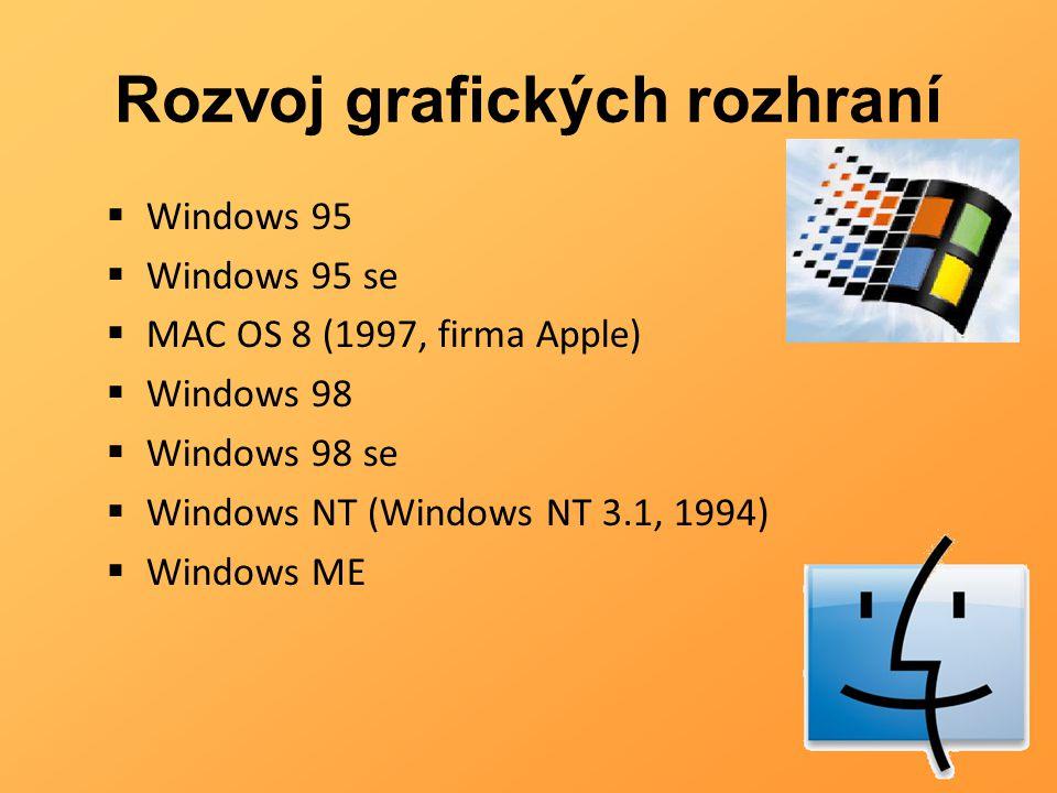 Rozvoj grafických rozhraní  Windows 95  Windows 95 se  MAC OS 8 (1997, firma Apple)  Windows 98  Windows 98 se  Windows NT (Windows NT 3.1, 1994