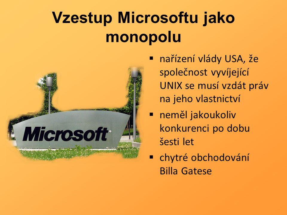 Vzestup Microsoftu jako monopolu  nařízení vlády USA, že společnost vyvíjející UNIX se musí vzdát práv na jeho vlastnictví  neměl jakoukoliv konkure