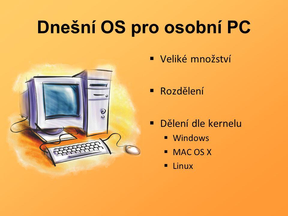 Dnešní OS pro osobní PC  Veliké množství  Rozdělení  Dělení dle kernelu  Windows  MAC OS X  Linux
