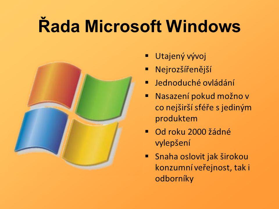 Řada Microsoft Windows  Utajený vývoj  Nejrozšířenější  Jednoduché ovládání  Nasazení pokud možno v co nejširší sféře s jediným produktem  Od rok