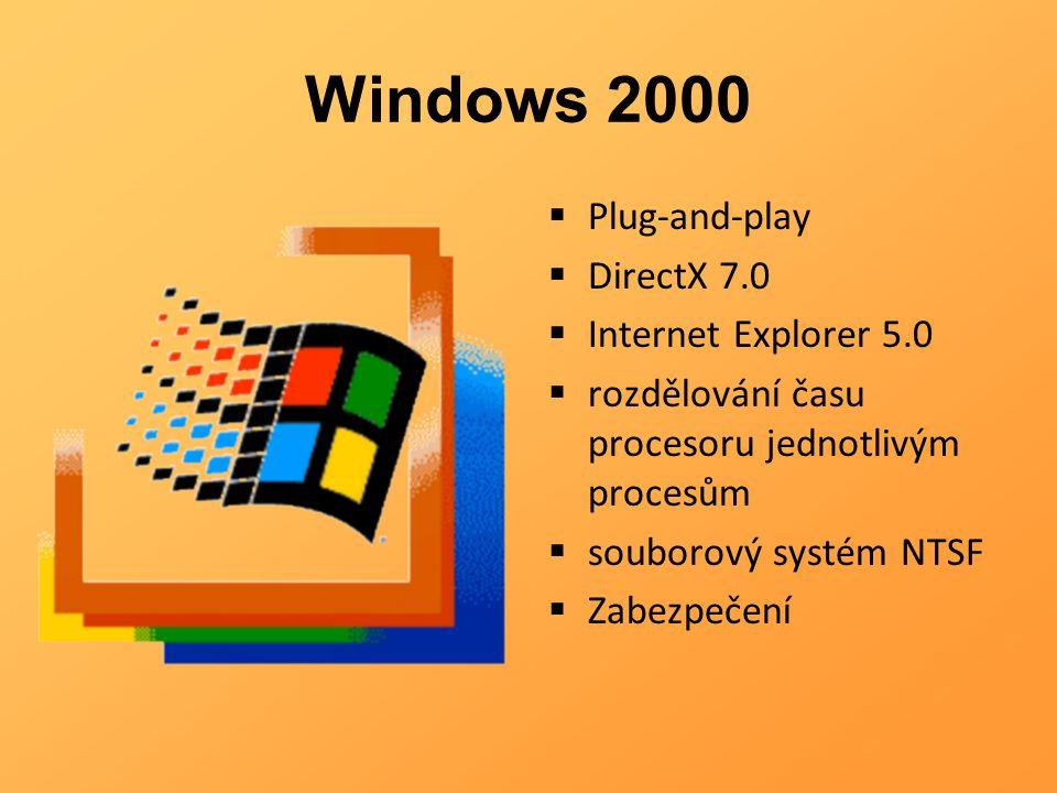 Windows 2000  Plug-and-play  DirectX 7.0  Internet Explorer 5.0  rozdělování času procesoru jednotlivým procesům  souborový systém NTSF  Zabezpe