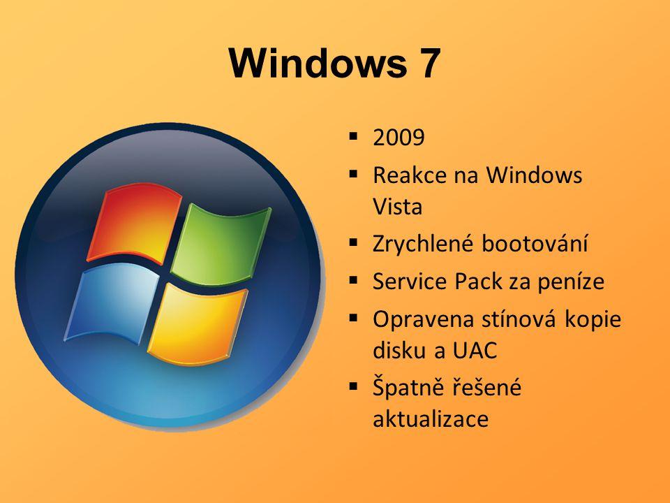 Windows 7  2009  Reakce na Windows Vista  Zrychlené bootování  Service Pack za peníze  Opravena stínová kopie disku a UAC  Špatně řešené aktuali