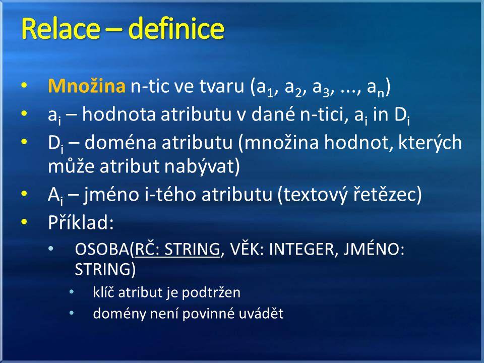 Množina n-tic ve tvaru (a 1, a 2, a 3,..., a n ) a i – hodnota atributu v dané n-tici, a i in D i D i – doména atributu (množina hodnot, kterých může