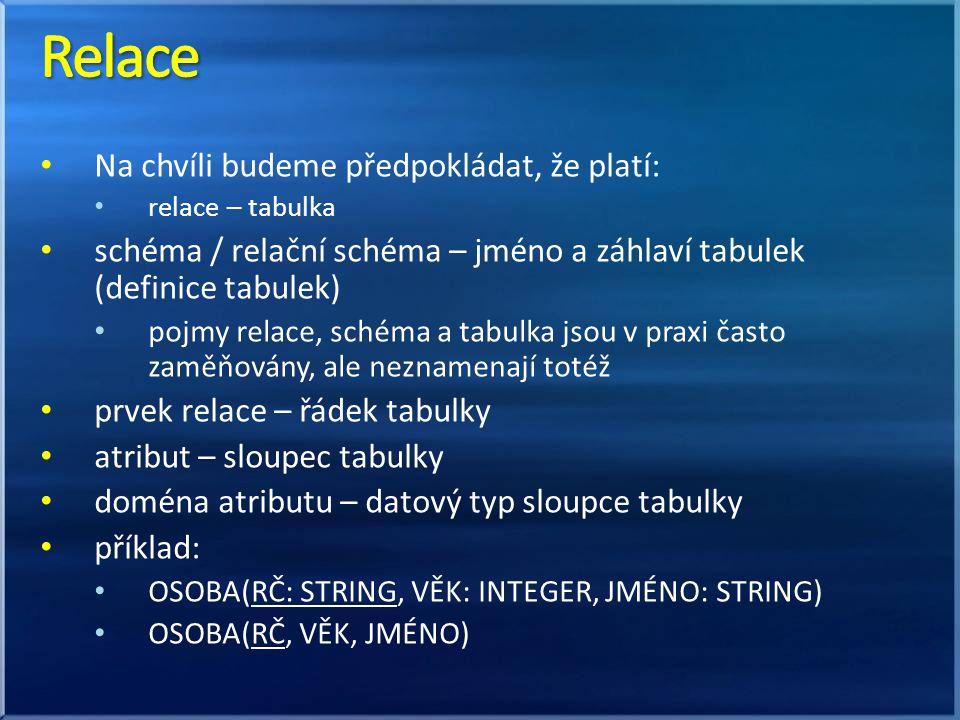 Na chvíli budeme předpokládat, že platí: relace – tabulka schéma / relační schéma – jméno a záhlaví tabulek (definice tabulek) pojmy relace, schéma a