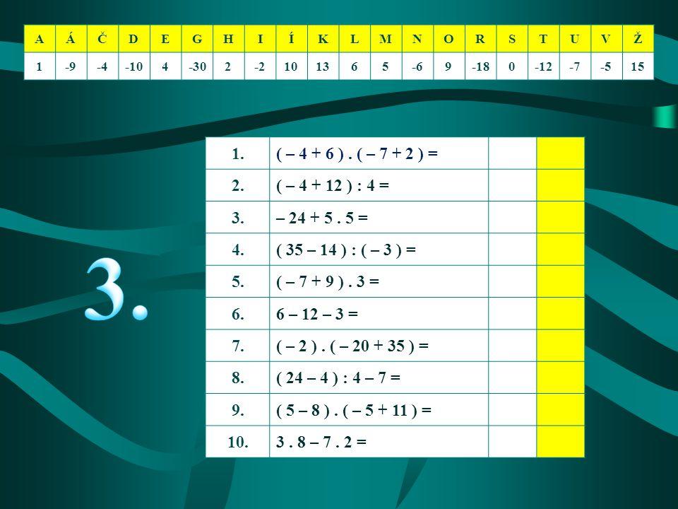 AÁČDEGHIÍKLMNORSTUVŽ 1-9-4-104-302-2101365-69-180-12-7-515 1.( – 4 + 6 ). ( – 7 + 2 ) = 2.( – 4 + 12 ) : 4 = 3.– 24 + 5. 5 = 4.( 35 – 14 ) : ( – 3 ) =