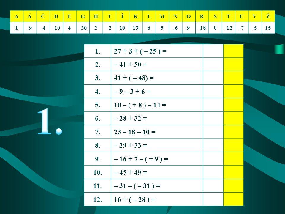 1.27 + 3 + ( – 25 ) = 2.– 41 + 50 = 3.41 + ( – 48) = 4.– 9 – 3 + 6 = 5.10 – ( + 8 ) – 14 = 6.– 28 + 32 = 7.23 – 18 – 10 = 8.– 29 + 33 = 9.– 16 + 7 – (