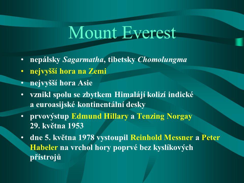 Mount Everest nepálsky Sagarmatha, tibetsky Chomolungma nejvyšší hora na Zemi nejvyšší hora Asie vznikl spolu se zbytkem Himalájí kolizí indické a eur