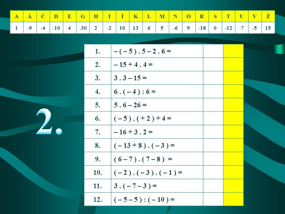 AÁČDEGHIÍKLMNORSTUVŽ 1-9-4-104-302-2101365-69-180-12-7-515 1.– ( – 5 ). 5 – 2. 6 = 2.– 15 + 4. 4 = 3.3. 3 – 15 = 4.6. ( – 4 ) : 6 = 5.5. 6 – 26 = 6.(
