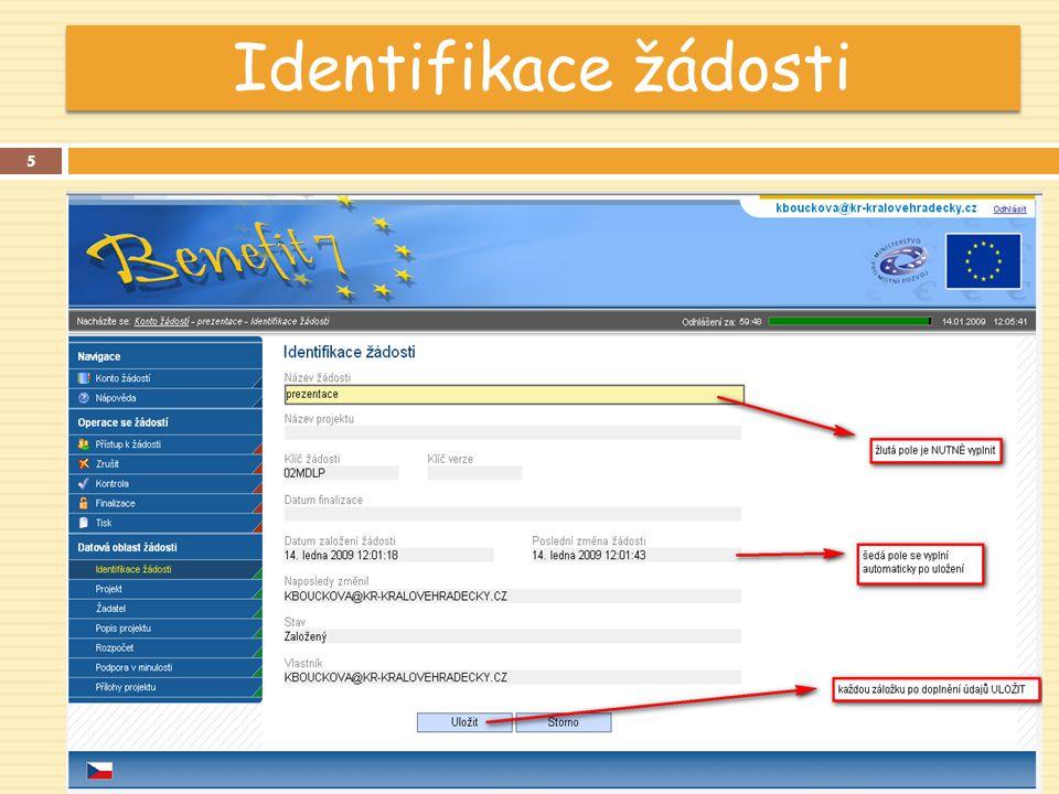 Identifikace žádosti 5