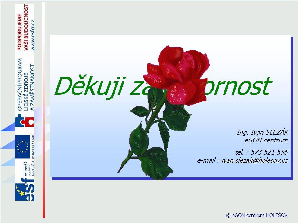 © eGON centrum HOLEŠOV Děkuji za pozornost Ing. Ivan SLEZÁK eGON centrum ivan.slezak@holesov.cz tel. : 573 521 556 e-mail : ivan.slezak@holesov.cz Děk