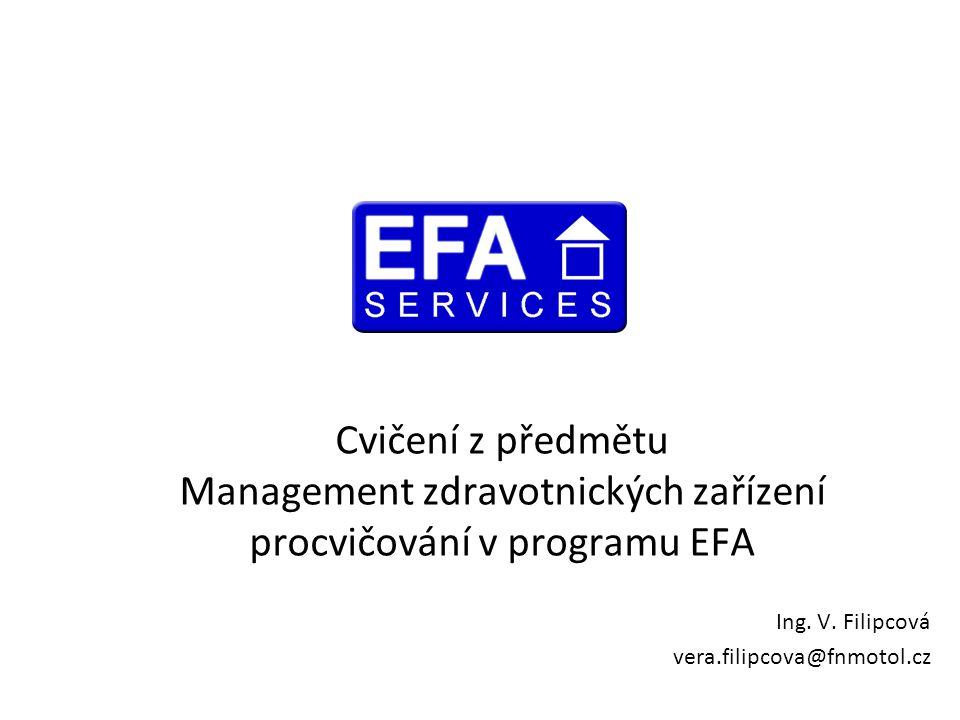 Cvičení z předmětu Management zdravotnických zařízení procvičování v programu EFA Ing. V. Filipcová vera.filipcova@fnmotol.cz
