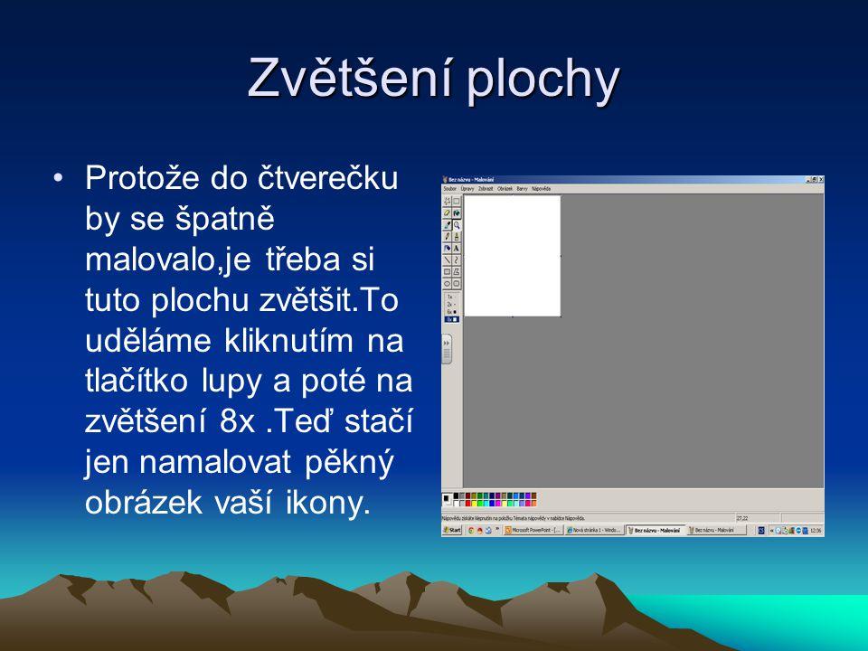 Uložení hotového obrázku Až budete mít obrázek hotový,uložte ho pod jménem,který on charakterizuje.Obráze k ukládejte do adresáře nejlépe s názvem ikony.
