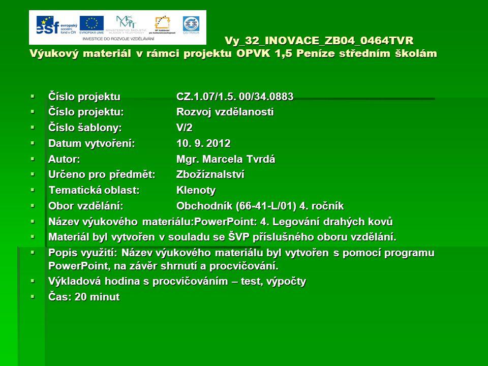 Vy_32_INOVACE_ZB04_0464TVR Výukový materiál v rámci projektu OPVK 1,5 Peníze středním školám  Číslo projektuCZ.1.07/1.5.