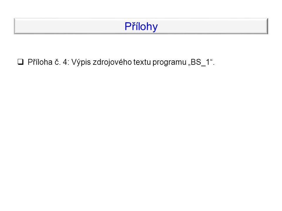 """Přílohy  Příloha č. 4: Výpis zdrojového textu programu """"BS_1 ."""