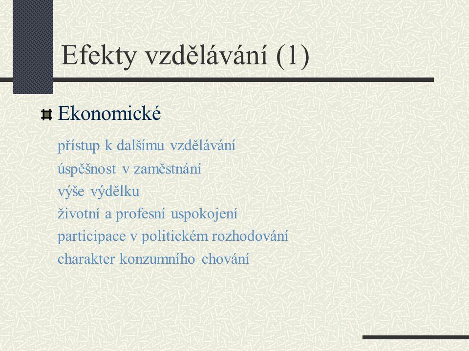 Efekty vzdělávání (1) Ekonomické přístup k dalšímu vzdělávání úspěšnost v zaměstnání výše výdělku životní a profesní uspokojení participace v politickém rozhodování charakter konzumního chování
