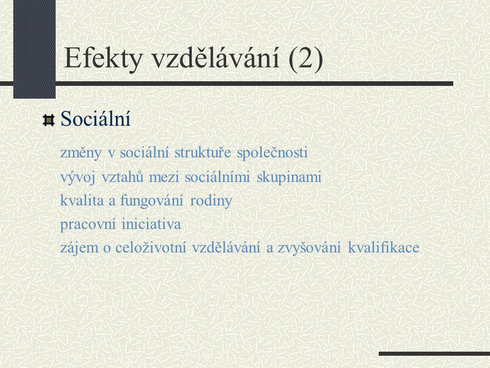 Efekty vzdělávání (2) Sociální změny v sociální struktuře společnosti vývoj vztahů mezi sociálními skupinami kvalita a fungování rodiny pracovní iniciativa zájem o celoživotní vzdělávání a zvyšování kvalifikace